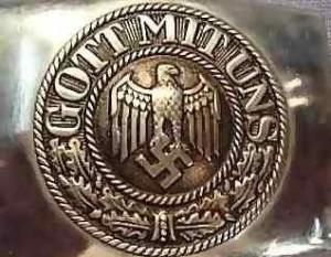 This is the belt buckle of the National Socialist soldiers: God with us. And this was what the Jews that were killed had to see on their way to the gas chambers.